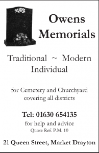 Owens Memorials - Advertiser in the Parish Magazine
